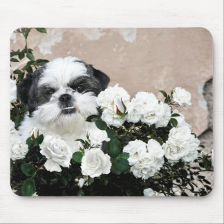 Shih Tzu and roses Mouse Pad