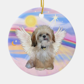 Shih Tzu Angel in Heaven's Clouds Ceramic Ornament