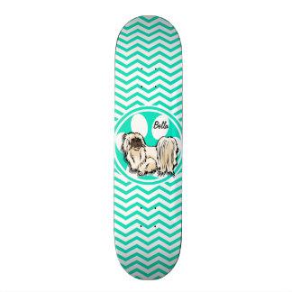 Shih Tzu; Aqua Green Chevron Skateboard