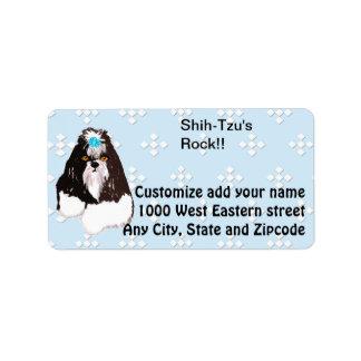 Shih-Tzu - azul con el diseño blanco del diamante Etiqueta De Dirección