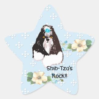 Shih-Tzu - azul con el diseño blanco del diamante Pegatina En Forma De Estrella