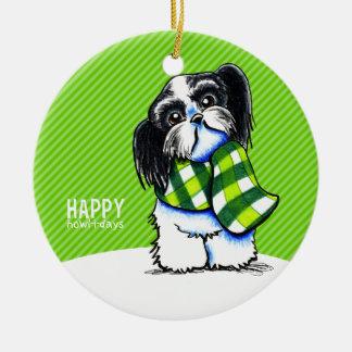 Shih Tzu B/W Christmas Snow Happy Howl-i-days Ceramic Ornament