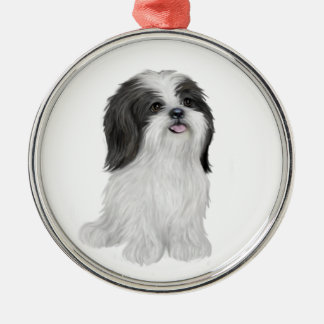 Shih Tzu - black and white (by JF) Metal Ornament