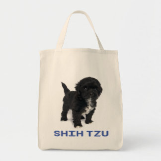 Shih Tzu Black And White Puppy Dog Love Tote