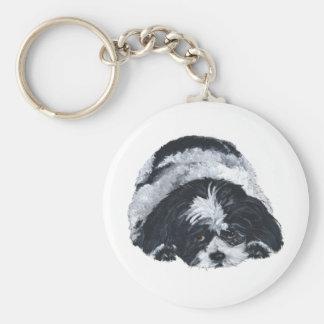 Shih Tzu Black & White Keychain