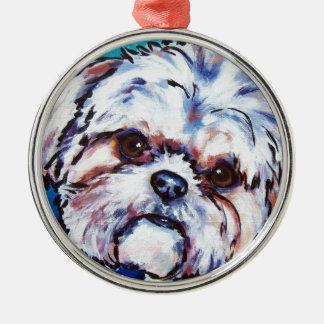 Shih Tzu blue Metal Ornament
