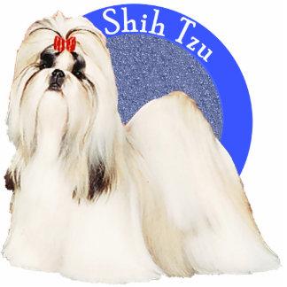 Shih Tzu Blue Photo Pin Photo Sculpture Button