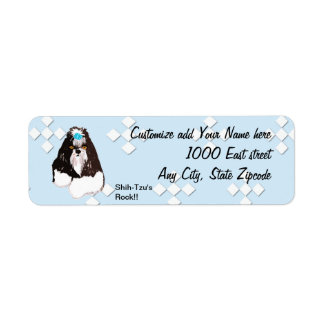 Shih-Tzu - Blue w/ White Diamond Design Label