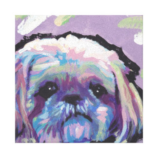 Shih Tzu Bright Colorful Pop Dog Art Stretched Canvas Print