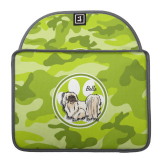 Shih Tzu; bright green camo, camouflage Sleeve For MacBooks