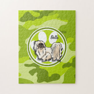 Shih Tzu; bright green camo, camouflage Jigsaw Puzzle