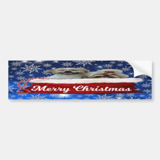 Shih tzu Bumper Sticker, Christmas Bumper Sticker