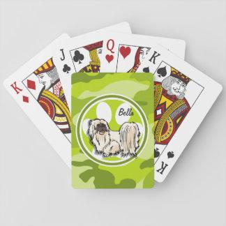 Shih Tzu; camo verde claro, camuflaje Cartas De Póquer