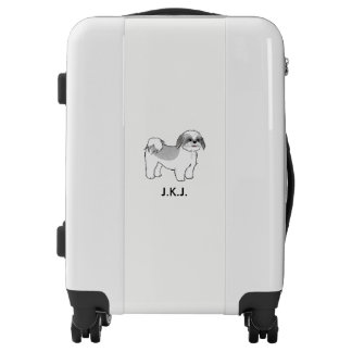 Shih Tzu Cartoon Dog with Custom Text Luggage