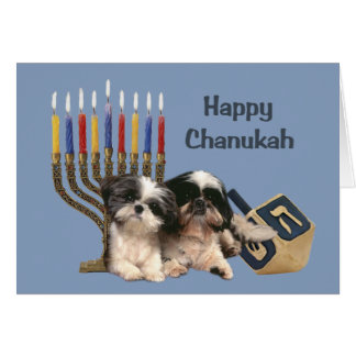 Shih Tzu Chanukah Card Menorah Dreidel