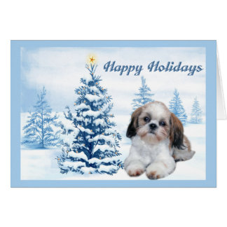 Shih Tzu Christmas Card Blue Tree
