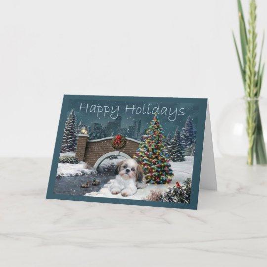 Shih Tzu Christmas Card Evening | Zazzle.com