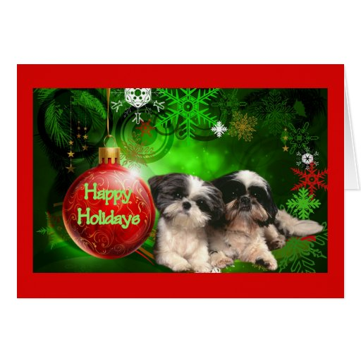 Shih Tzu Christmas Card Happy Holidays Ball
