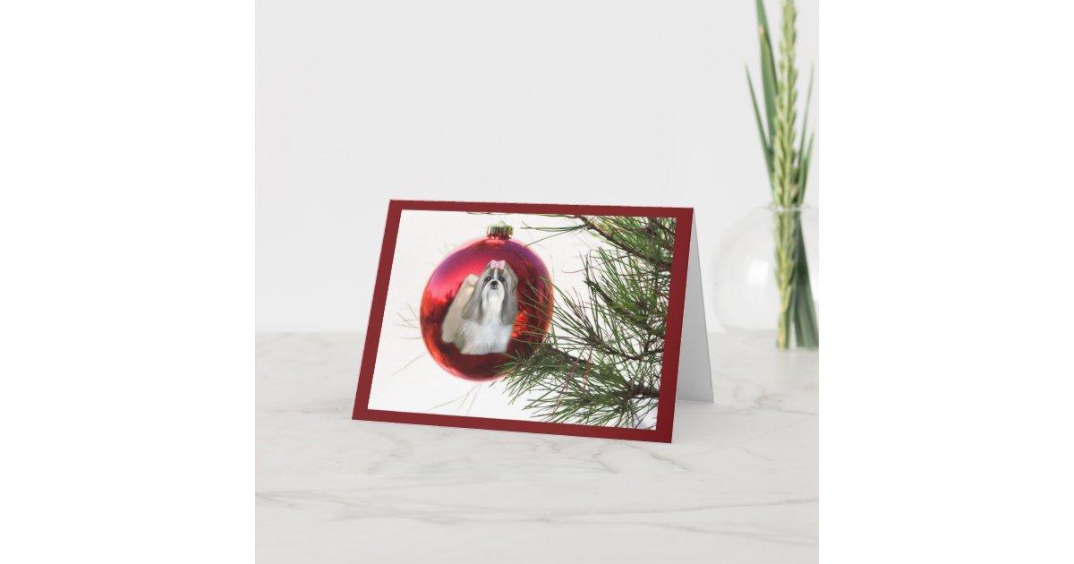 Shih Tzu Christmas Card Ornament | Zazzle.com