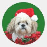 Shih Tzu Christmas Classic Round Sticker