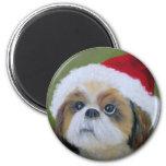 Shih Tzu Christmas Magnet