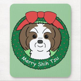 Shih Tzu Christmas Mouse Pad