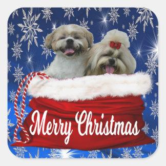 Shih tzu Christmas Stickers