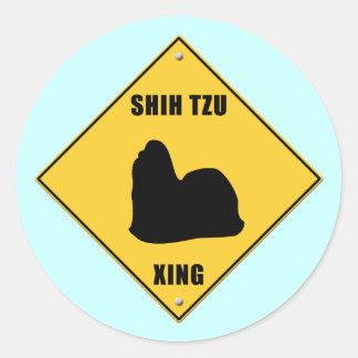 Shih Tzu Crossing XING Sign Round Sticker