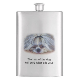 Shih Tzu Dog A little Hungover Hip Flask