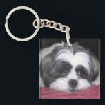 "Shih Tzu Dog Keychain<br><div class=""desc"">A Cute white and black Shih Tzu dog laying down on a rose / pink blanket. Adorable Shih Tzu Dog Breed Photograph image prints.</div>"
