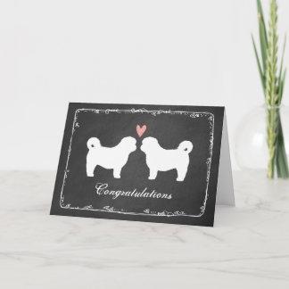 Shih Tzu Dog Silhouettes Wedding Congratulations Card