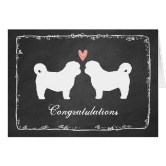 Shih Tzu Dog Silhouettes Wedding Congratulations Card