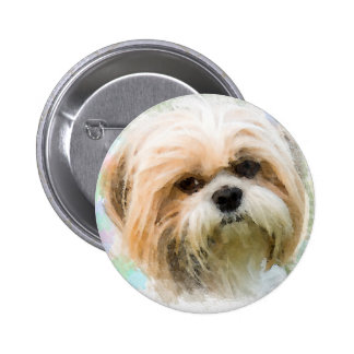 Shih Tzu Dog Water Color Art Painting Button