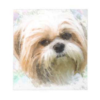 Shih Tzu Dog Water Color Art Painting Notepad