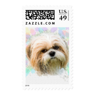 Shih Tzu dog Water Color Painting Art Postage