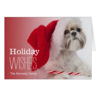 Shih Tzu dog wearing a Santa Claus hat Greeting Card