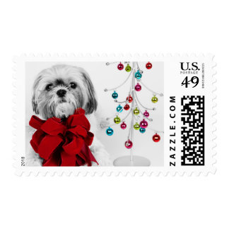 Shih Tzu dog with red bow by toy Christmas tree Postage