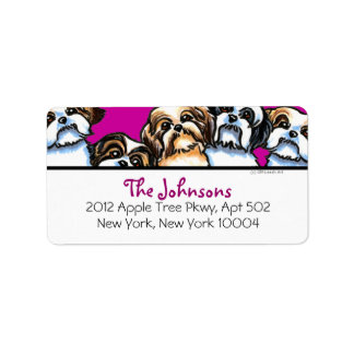 Shih Tzu Dogs Girly Font Custom Color Label