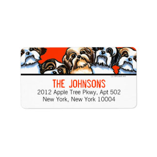 Shih Tzu Dogs Trendy Font Custom Color Label