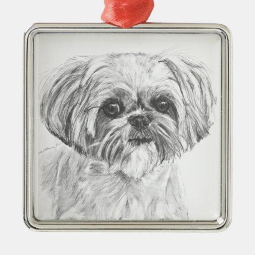 Shih Tzu Drawing Christmas Ornaments