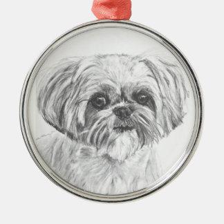 Shih Tzu Drawing Metal Ornament