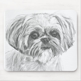 Shih Tzu Drawing Mouse Pad