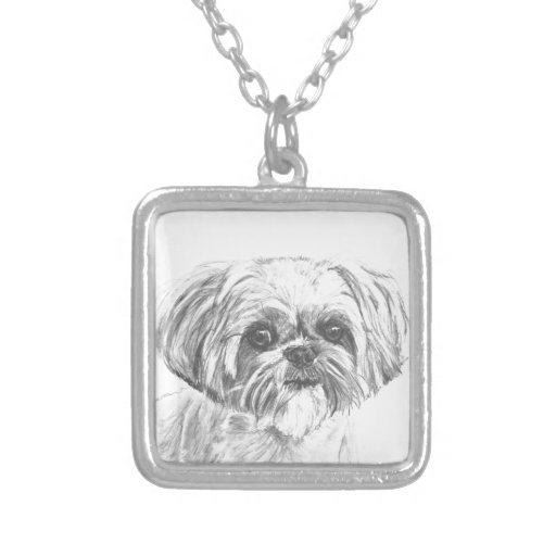 Shih Tzu Drawing Personalized Necklace