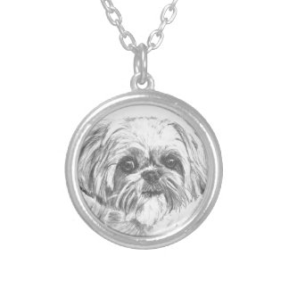 Shih Tzu Drawing Silver Plated Necklace
