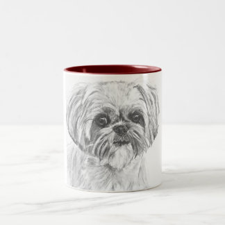 Shih Tzu Drawing Two-Tone Coffee Mug