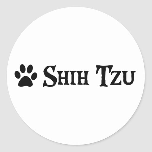 Shih Tzu (estilo del pirata con el pawprint) Etiquetas Redondas