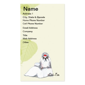 Shih Tzu ~ Green Leaves Design Business Card