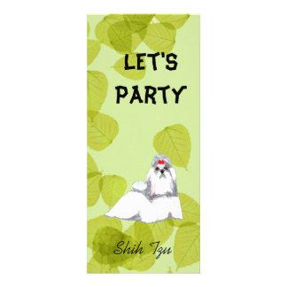 Shih Tzu Green Leaves Design Invites