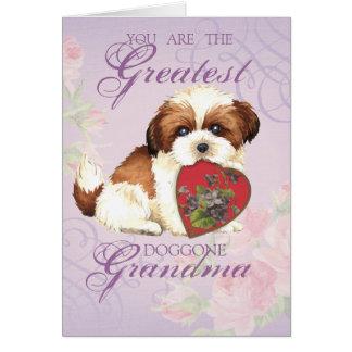 Shih Tzu Heart Grandma Greeting Card