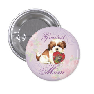 Shih Tzu Heart Mom Button